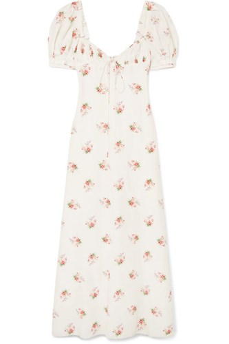 Brock Collection Doda Floral Print Cotton And Silk Blend Gown White Usd r6uNn9h