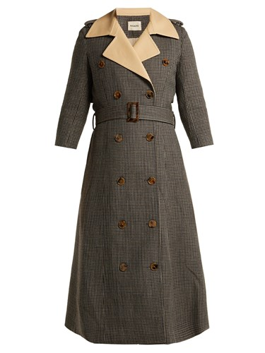 Charlotte Houndstooth Wool Trench Coat Brown Multi