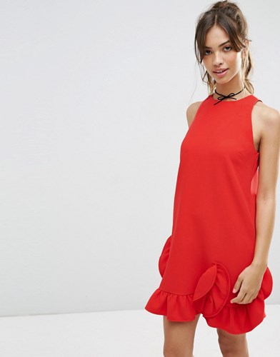Dress Asos Red Frill Extreme Shift rt0xP8C0wn