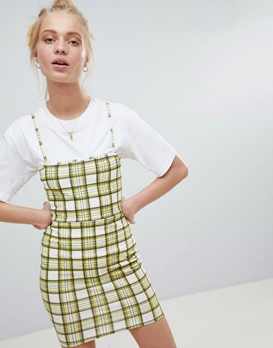 Daisy Street 90'S Cami Dress In Check Yellow nxtoo
