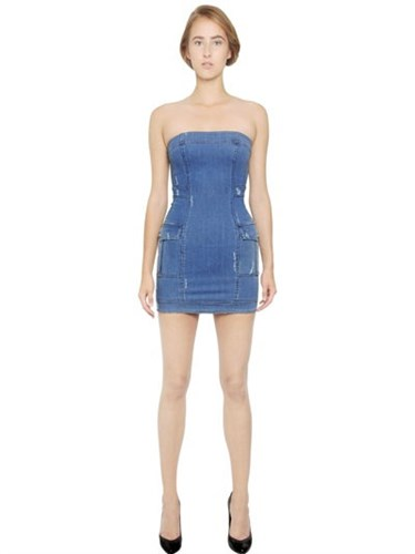 Denim Strapless Cotton Stretch Balmain Dress gpSwzB