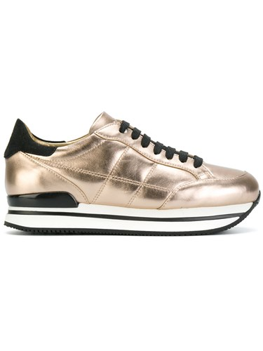 Hogan Lace Up Sneakers Leather Rubber 36.5 Nude Neutrals RFsovy