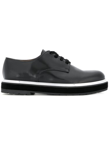Agl Embellished Sole Lace Up Shoes Calf Leather Leather Rubber Black 3eUHWA