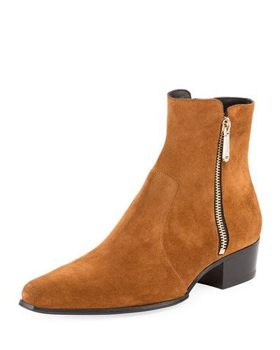 Suede Anthos Balmain Boot Brown Ankle RnWafxHwqB