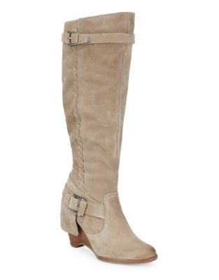 Braid Monkey Boots Suede Naughty Calf Mid Taupe 805qx