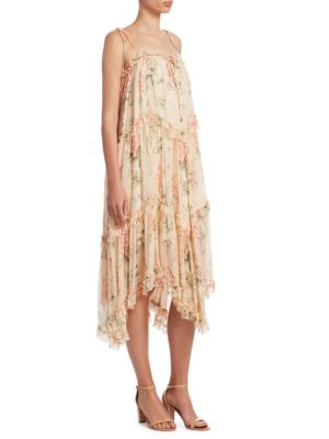 Zimmermann Silk Floral Print Dress Peach Floral D2i0Vb701C