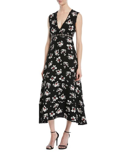 White And Black Midi Flare Proenza Dress Floral V Sleeveless Fit Print Schouler Neck 4w4x7p