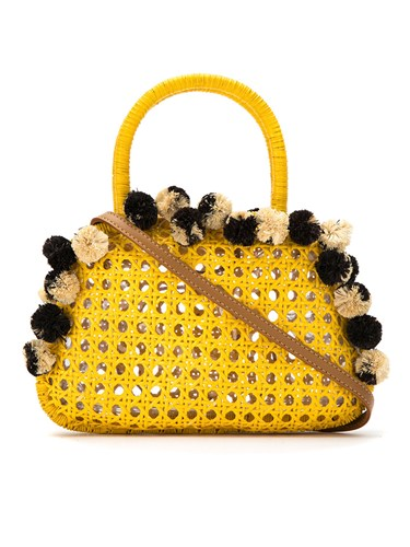 Serpui Embellished Straw Bag Yellow And Orange lfo5yHP8O