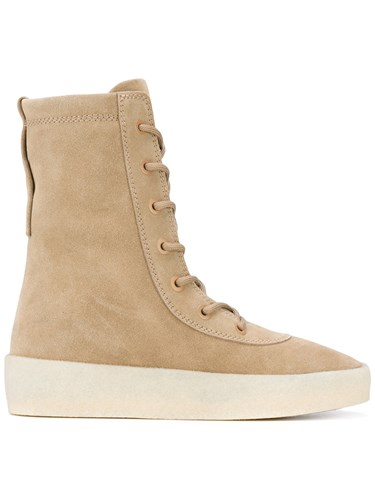 Yeezy Lace Up Boots Unisex Calf Leather Calf Suede Rubber 36 Nude Neutrals ANLu9YuM