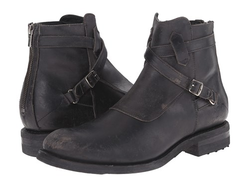 Frye Stone Cross Strap Black Polished Stonewash Men's Pull On Boots elRsSe