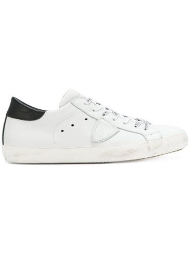 Philippe Model Logo Patch Sneakers Leather Rubber Cotton White m70x8eMz0