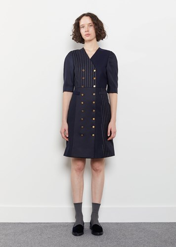 Thom Browne Double Breasted Silk Merino Dress Navy WFh1ou89i