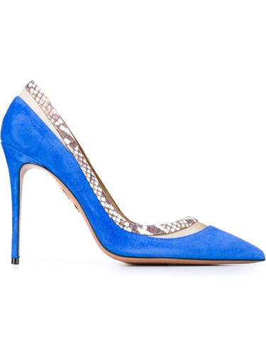 Aquazzura Snakeskin Effect Trim Pumps Blue bXKQA28yJ
