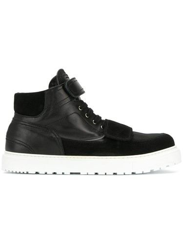 Kris Van Assche Strapped Hi Top Sneakers Calf Leather Leather Nylon Rubber Black MahzQzydw