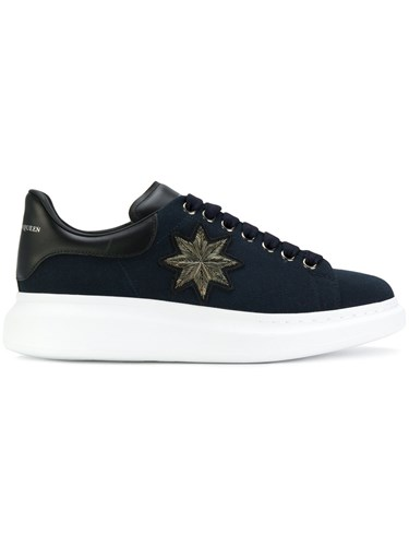 Blue Embroidered Extended Sneakers Sole Alexander Leather McQueen Cotton Rubber C7w65qx8