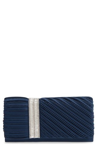 Nina Daylie Pleated Satin Clutch Blue Navy rPYYc