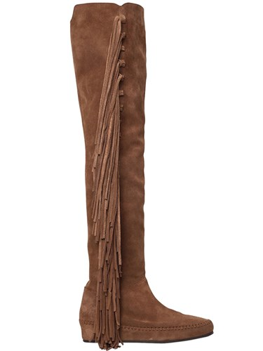 Etro 30Mm Fringed Suede Over The Knee Boots j94q7SSFR2