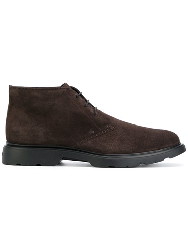 Hogan Mid Top Lace Up Derby Shoes Men Leather Suede Rubber 9.5 Brown SbZvj