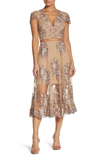 Dress the Population Juliana Two Piece Nude Floral 1AghHu