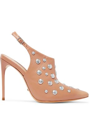Schutz Anardele Studded Leather Pumps Tan DBmTPer