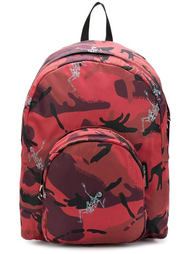 Alexander McQueen Small Skeleton Camouflage Backpack Red OcelsB7nC