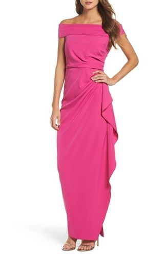 Vince Camuto 'S Off The Shoulder Crepe Gown Fuchsia WQOL7N