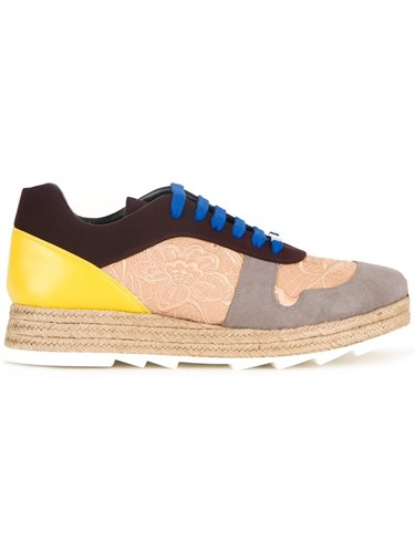 Stella McCartney Paneled Lace Up Sneakers Yellow G59gTbM