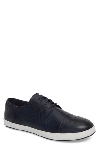 English Laundry Dunnet Cap Toe Sneaker Navy Leather billf3iJob