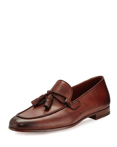 Magnanni Leather Loafer With Woven Tassels Medium Brown AtnNrUwQ