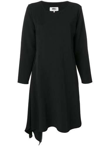 Maison Martin Margiela Mm6 Asymmetric Long Sleeve Midi Dress Black pmevg