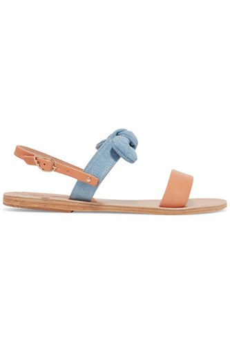 Ancient Greek Sandals Clio Bow Embellished Denim And Leather Tan 2ThE6KxudN