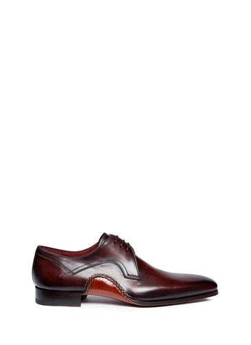 Magnanni Stitched Detail Leather Derbies Brown fD3YXclZ