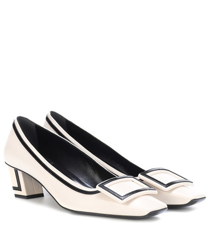 Roger Vivier Belle Graphic Leather Pumps White 8f6X2Yp