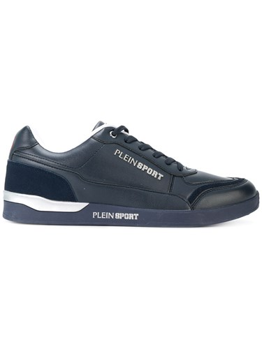 Plein Sport Checkmate Sneakers Leather Polyester Rubber Blue 4qypjY