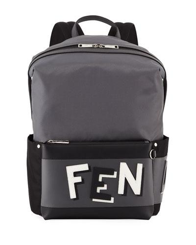 Trim Fendi Vocabulary Backpack Leather Men's Gray CCPH8tqSw
