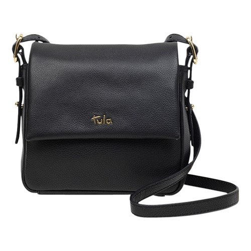 Tula Soft Originals Leather Small Flapover Cross Body Bag Black ENegW