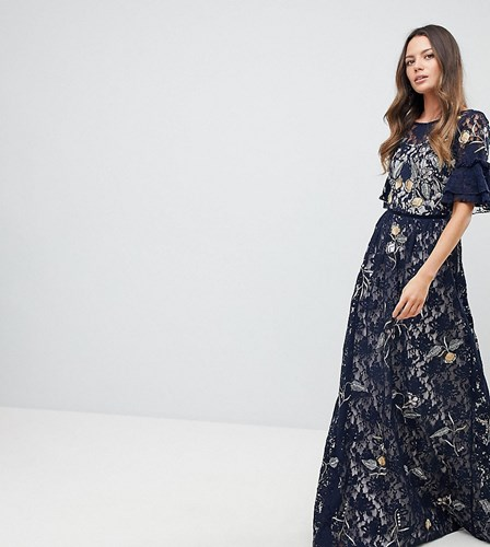 Frock and Frill Tall Allover Floral Embroidered Lace Maxi Dress With Flutter Sleeve Navy Multi XEFsoU