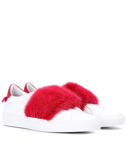 Givenchy Fur Trimmed Leather Sneakers White bEYC894EX