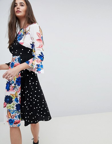 Asos Spot And Floral Midi Dress With Fluted Sleeve Multi 3ctEsQ