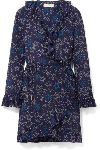 Paloma Blue Fiesta Ruffled Printed Silk Wrap Dress Navy rZk40G9B