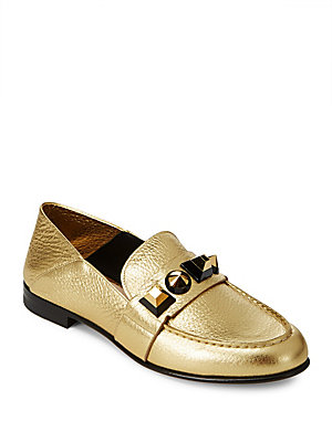 Fendi Studded Leather Loafers Gold qLbUZg1Eo