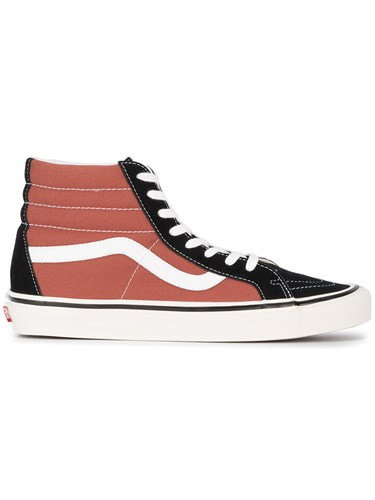 Vans Black Rust Two Tone Sk8 Hi 38 Dx Sneakers Leather Canvas Rubber Red FfoUg