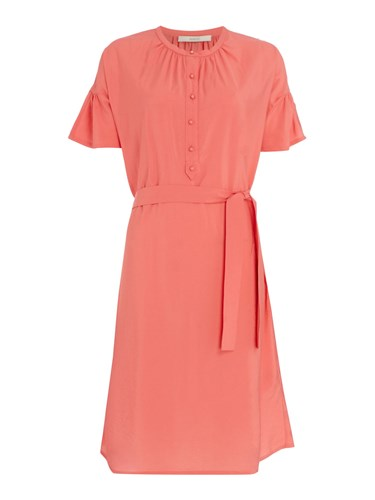 Sessun Charles Harper Belted Dress With Flounce Sleeve Pink F6dHV