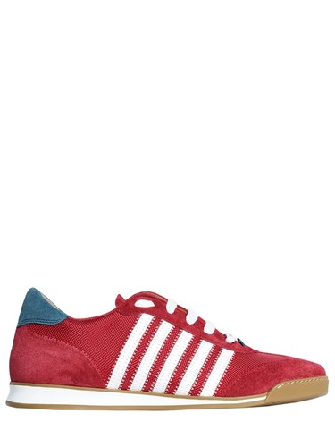 DSquared New Runner Nylon And Suede Sneakers Red White Te5V5X