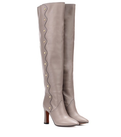 Over The Boots Knee Chloé Grey Leather 50EqxP