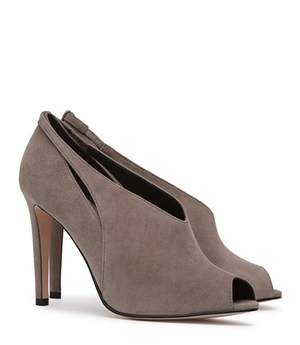 Reiss Dalida Suede Peep Toe Heels In Grey Womens 41pgxSWg