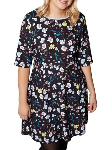 Yumi Curves Nouveau Floral Print Dress Black OnVkhVcJT