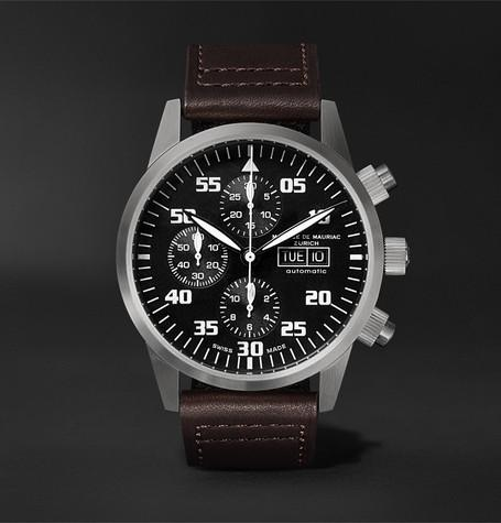 Zurich Chronograph 45Mm Stainless Steel And Leather Watch Black
