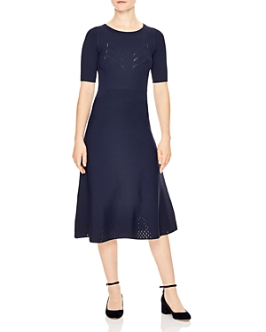 Sandro Dress Brunella Blue Midi Knit Navy nwaYZq0w