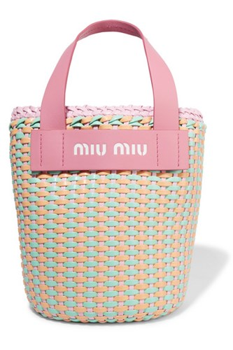 Miu Miu Leather Trimmed Faux Leather Woven Tote Pink Gbp gRBhXf4uu